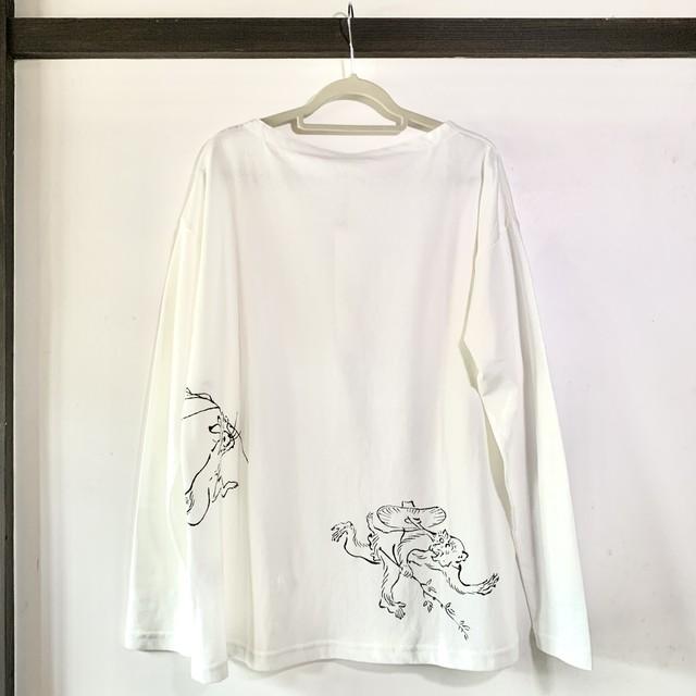鳥獣戯画 レディース長袖Tシャツ M ホワイト 兎と猿