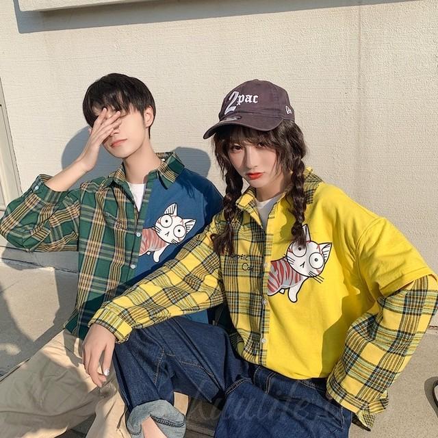 【トップス】「*ユニセック」韓国系長袖シングルブレストPOLOネック切り替えシャツ50058577