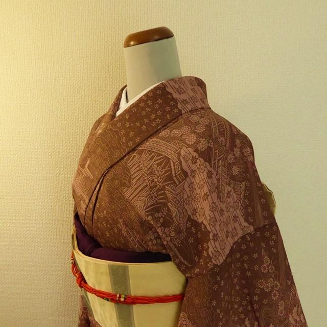 正絹ちりめん 赤褐色に総柄の小紋 袷の着物