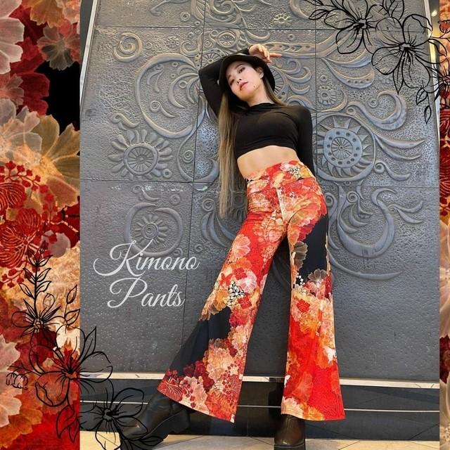 家紋と華 Black Pink Palazzo Pants