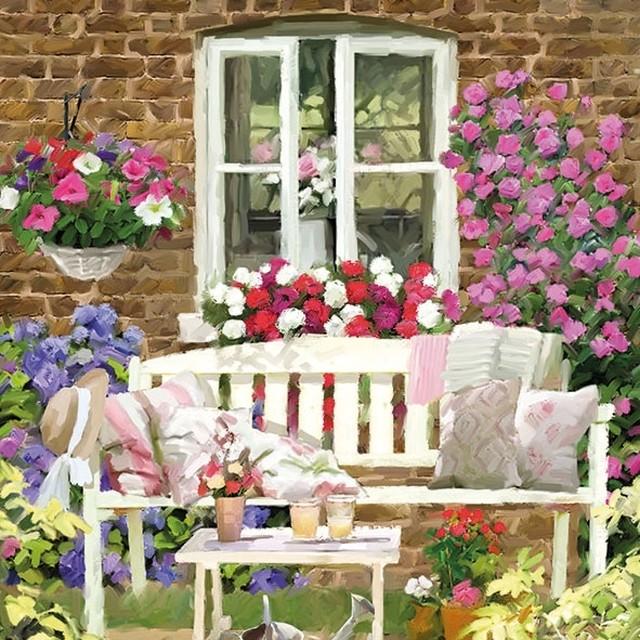 【Ambiente】バラ売り2枚 ランチサイズ ペーパーナプキン Garden Bench マルチカラー
