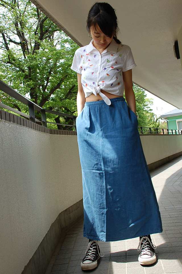 Tencel long skirt