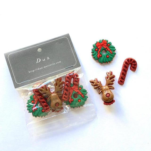JJボタン トナカイとクリスマスリースのボタンパック