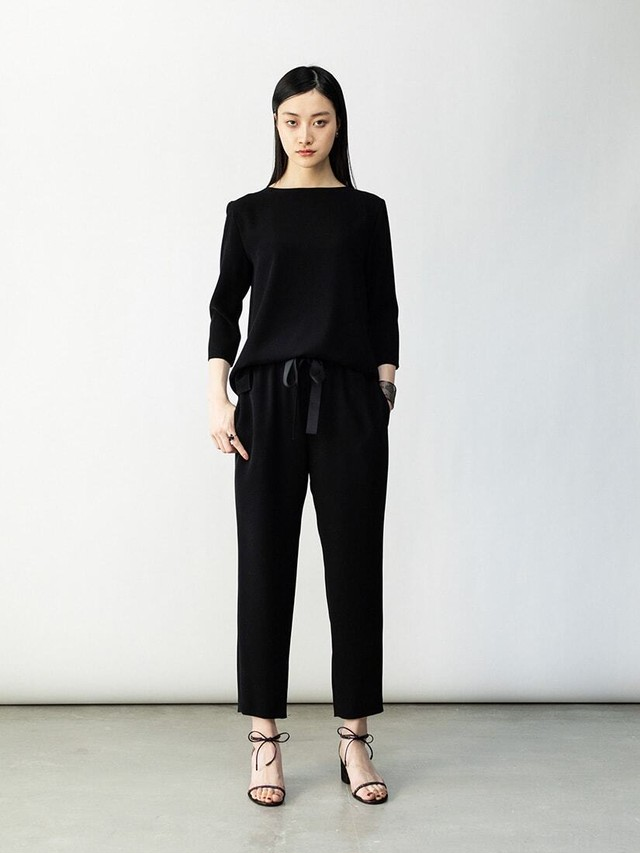 tapered ribbon pants(black、navy)