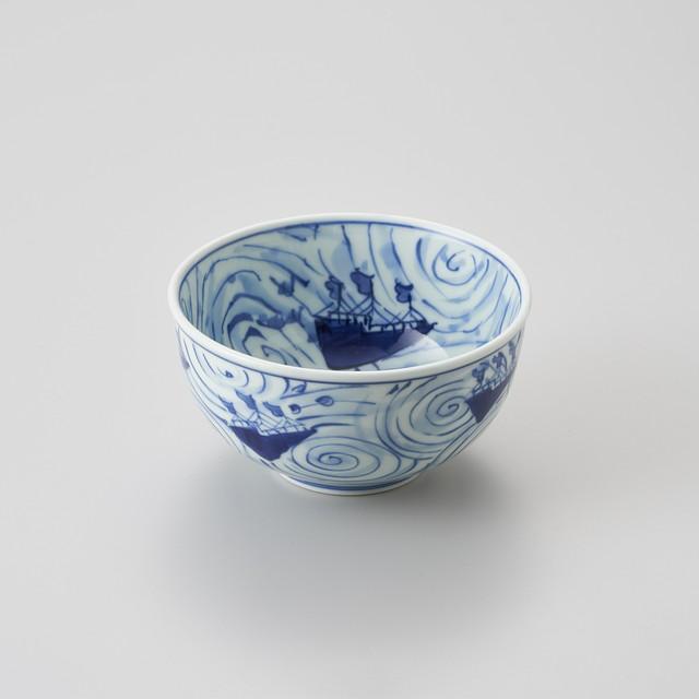 【青花】渦帆船 玉渕4.5寸丼