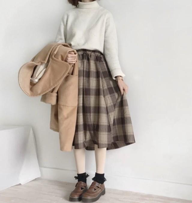 【送料無料】ふんわりかわいい♡ チェック柄 ロングシフォンスカート