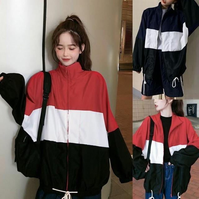 レディース スポーツジャケット ジャンバー ウインドブレーカー ライトアウター ジッパー ゆるかわ シンプル 春 秋 冬 シングルブレスト 韓国 韓国ファッション / Hit color stitching zipper sports jacket (DTC-604833960608)