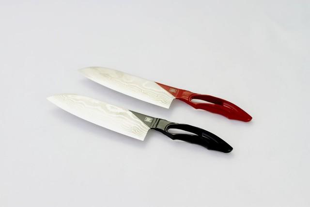 包丁 漆 三徳170mm ダマスカス ブラック / レッド