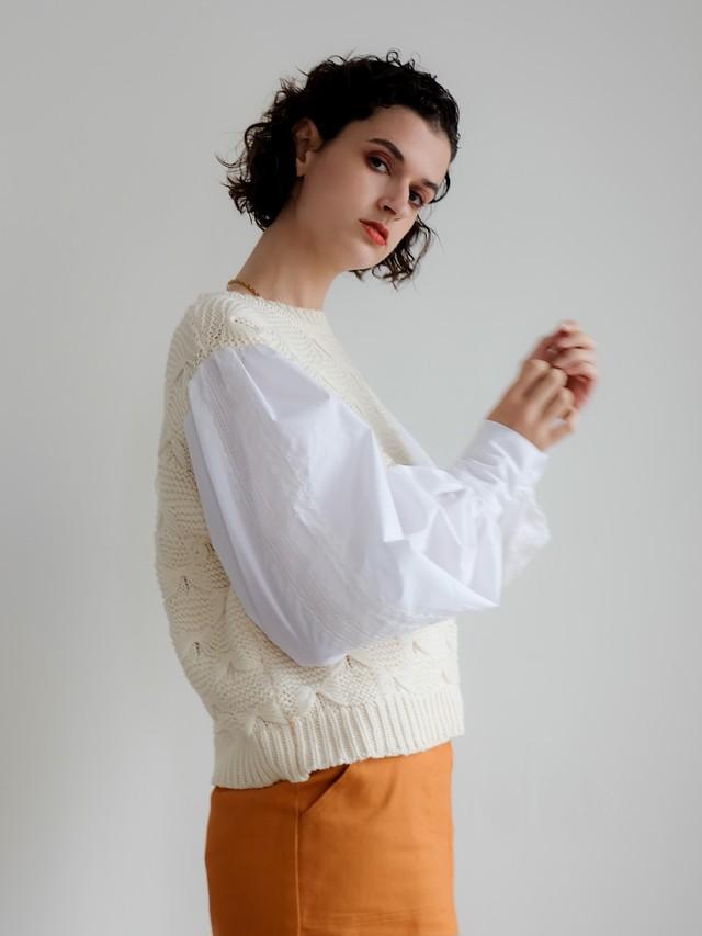 volume sleeve combi knit(ivory)