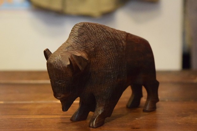 USED Bison Hand craft wooden ornament G0273