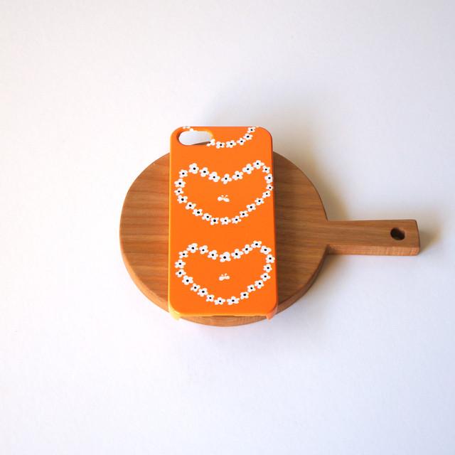 【iPhone / Android 各機種専用タイプ】側表面印刷*ハード型*スマホケース humming heart ( orange ) ● 受注生産