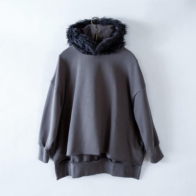 《michirico 2021AW》Fur hoodie / dark gray / S・M