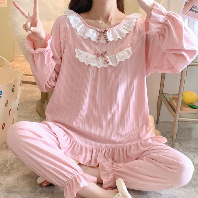 5色 2タイプ 新作 人気 フリル かわいい 柔らかい 肌触りの良い パジャマ ルームウェア MY8009