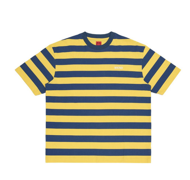 WKND SKATEBOARDS STRIPE TEE  YELLOW&NAVY