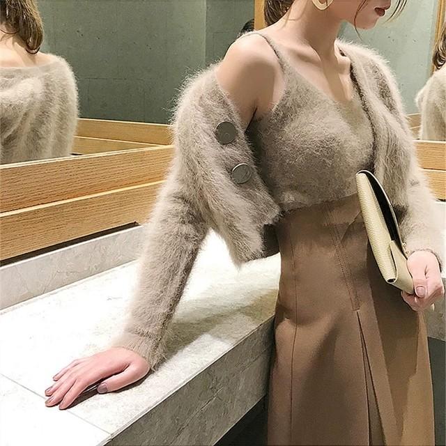 【1点のみ即納】simple fur tops 2peace
