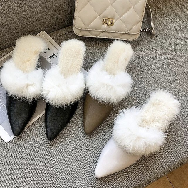 fur pointed shoes