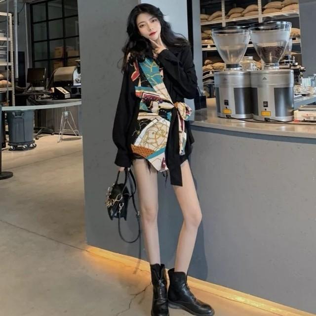 【トップス】ファッション民族風切り替えロングシャツ27642682