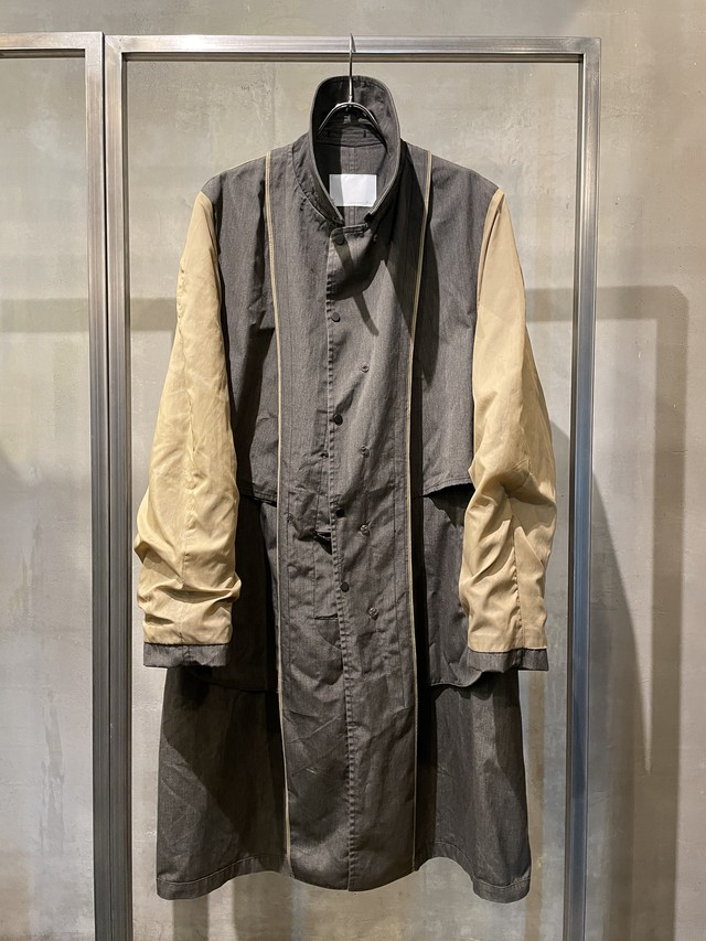 TrAnsference inside out cotton balmacaan coat - greige / garment dyed effect