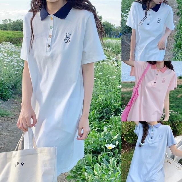 ポロワンピース カラフルボタン 半袖 薄手 ポロシャツ ワンピース 大人カジュアル ガーリー フェミニン / Polo color loose casual t-shirt dress (DTC-644534604673)