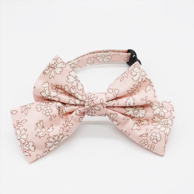 猫 首輪 リボン大 ピンク 花柄 リバティプリント×Capel
