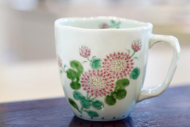 藍水 菊絵 マグカップ(大) うつわ藍水 波佐見焼