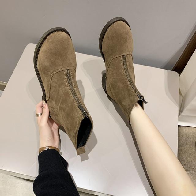 【シューズ】ファッションジッパーローヒール暖かい丸トゥショート丈ブーツ38009175