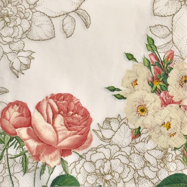 【Talking Tables】バラ売り1枚 カクテルサイズ ペーパーナプキン BLOSSOM & BROGUES ホワイト
