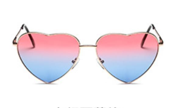 ハート♡型UVミラーサングラス【ピンク×ライトブルー】