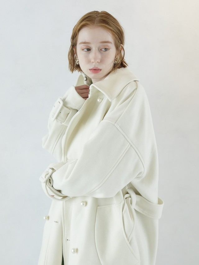 back fastener wool trench(off white)