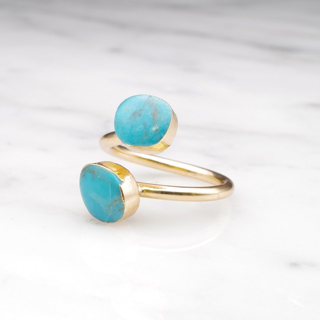DOUBLE TURQUOISE OPEN RING 02