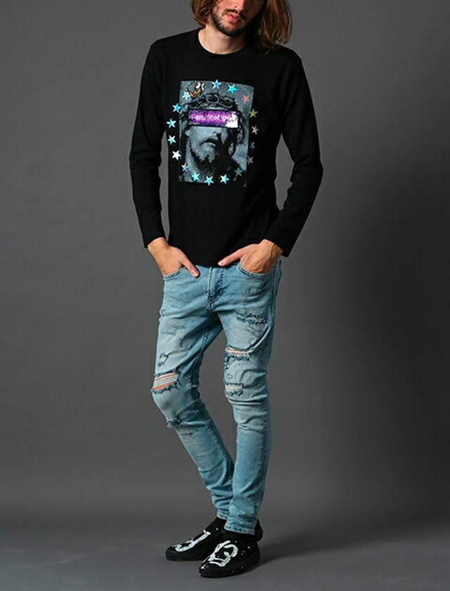 STUD MUFFIN スタッドマフィン ロンT スパンコール 長袖 Tシャツ メンズ トップス ブラック