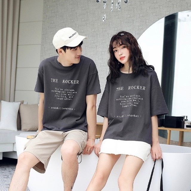 カップル ペアルック リンクコーデ  Tシャツ  カジュアル お揃い 0557
