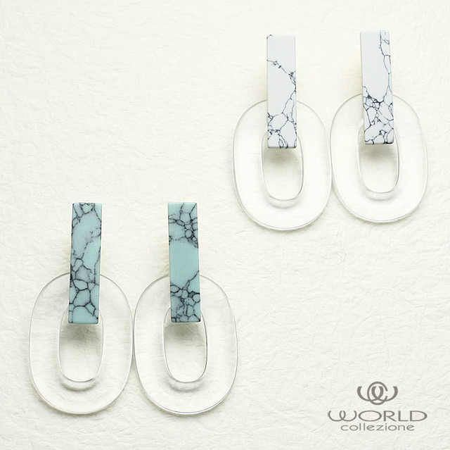 【worcolle】楕円形クリアイヤリング【summer sale!】(No.131284-85)
