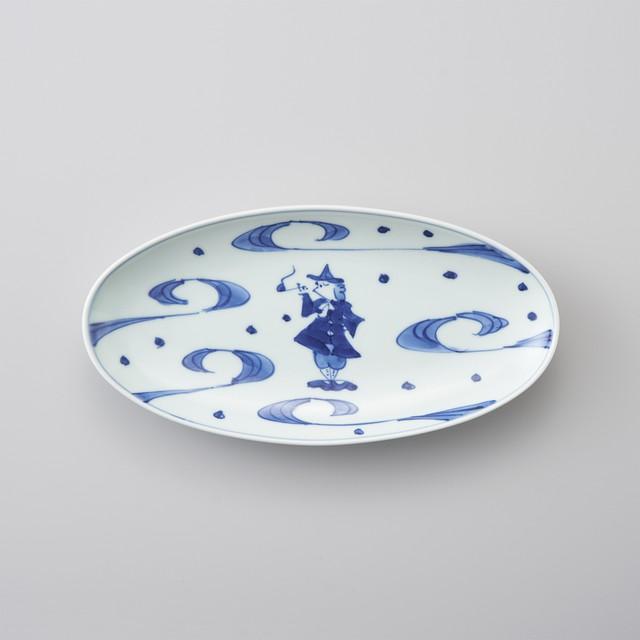 【青花】大航海 小判焼皿