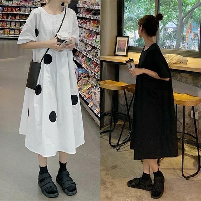 レディース ビックポケット ドット柄ワンピース ゆったり 着痩せ 大きいサイズ 韓国ファッション オルチャン / Large pocket polka dot dress (DCT-596258178171)
