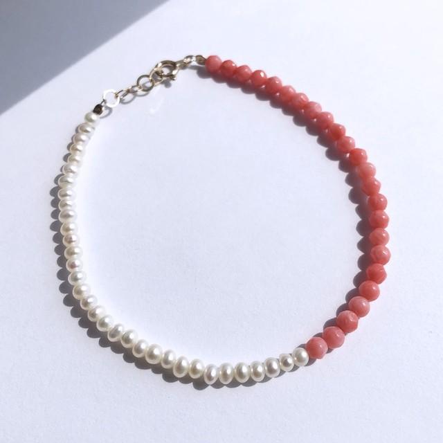 K10YG Coral x Pearl Bracelet / チャリティージュエリー