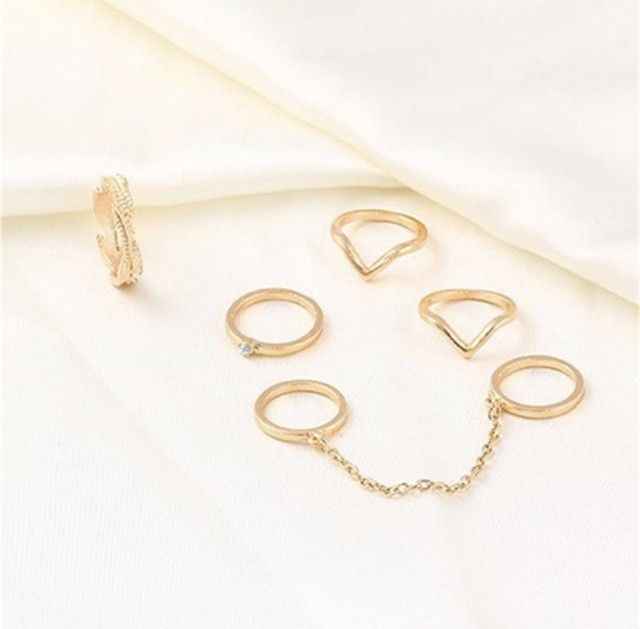 【ラスト6点】Gold tone midi band rings set