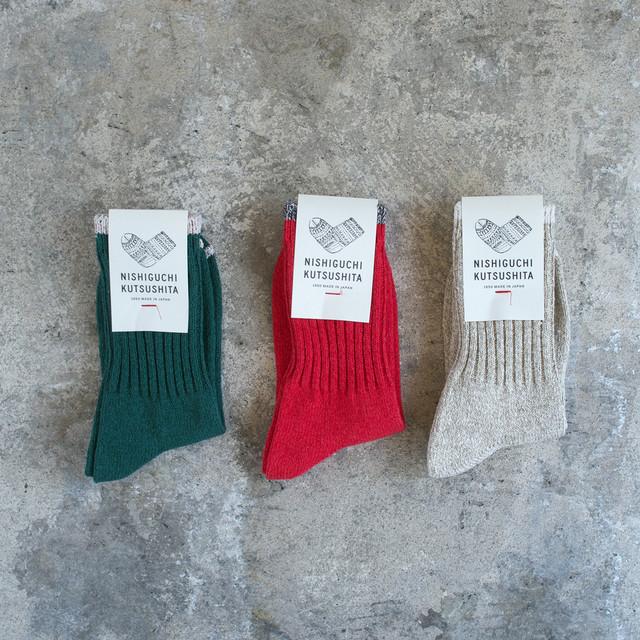 NISHIGUCHI KUTSUSHITA 西口靴下 シルクコットン天竺ソックス:サイズS  / SILK COTTON SOCKS S