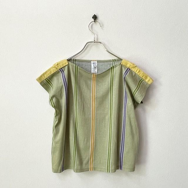 ユーロ ITALY製 ストライプ デザイン 半袖Tシャツ コットンリネン ヨーロッパ 古着 M