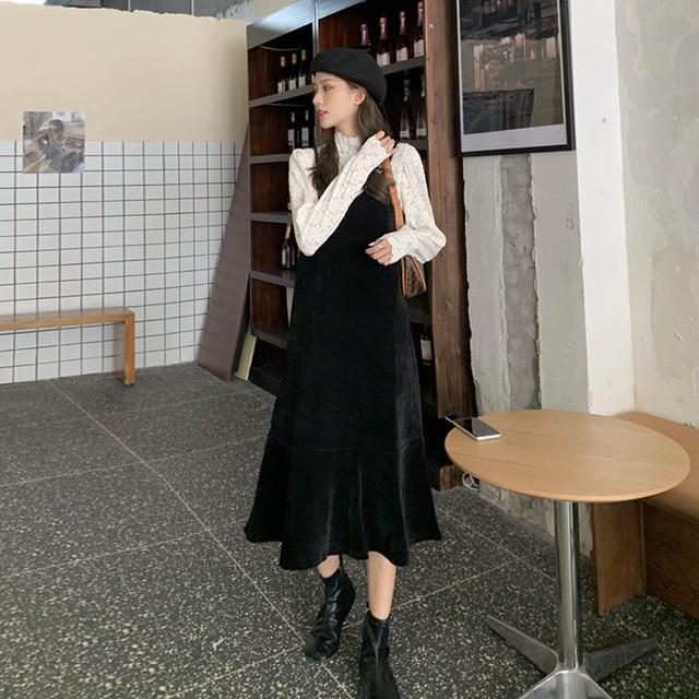 コーデュロイワンピデザイン&デザインシャツ D1789