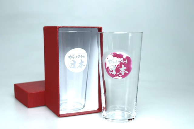 『がんばろう日本!タンブラー』  *冷感 日本 応援 グラス贈り物 プレゼント 温度で変化 不思議 マジック ビール ハイボール ソフトドリンク 乾杯