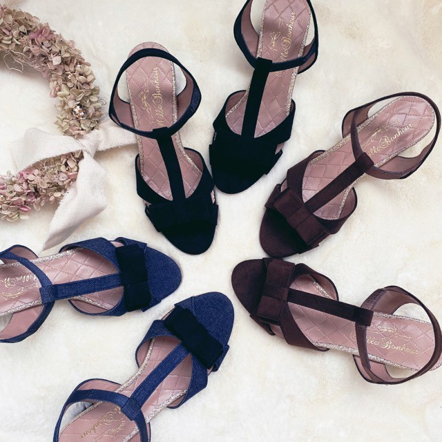 ご予約商品 Double ribbon glitter sandals