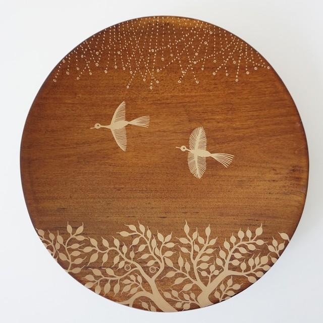 八木由紀子作品 拭き漆ワルリ画プレートA