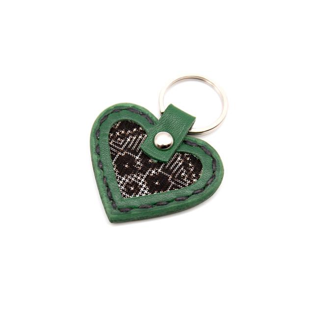 大島紬と本革のハートキーホルダー | 緑