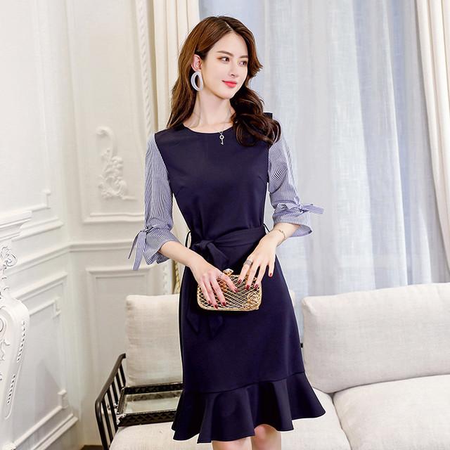 【dress】 配色リボン絞り着瘦せファッション五分袖デートワンピース