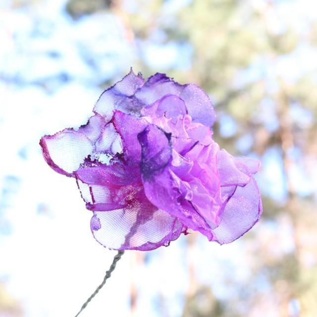 紫色の宇宙|染めオーガンジーのアートピアス