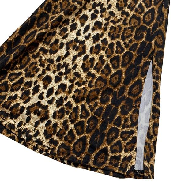 【Cat & Parfum】Leopard Bell Bottom Slit Pants
