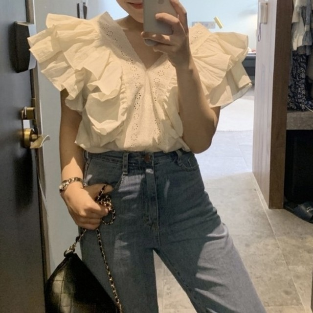 side frill cotton blouse [2105-17]