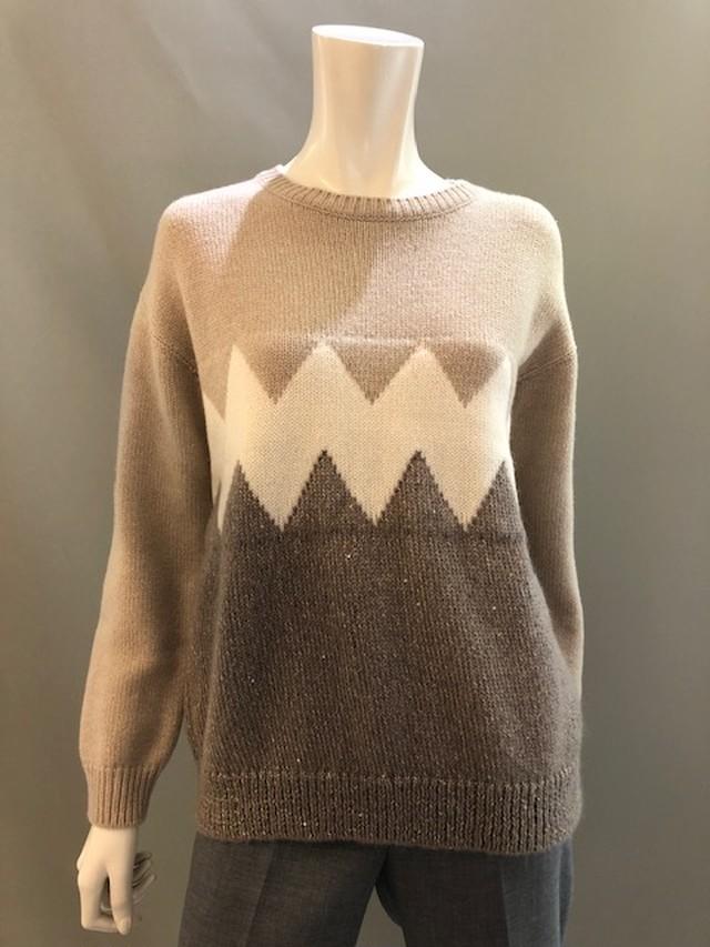 H.A.N.D (ハンド)イタリア製 ジグザグ柄ジャガード編みクルーネックセーター 35300 Beige