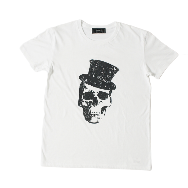 Hat skull Print  T-shirt(White)